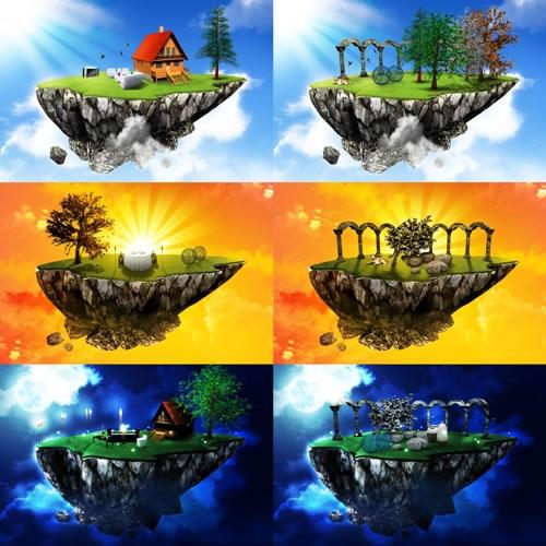 Ilha-Voadora-Dia-e-Noite-PSD-Template-Photoshop
