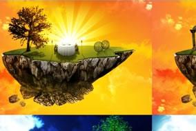 Ilha-Voadora-Dia-e-Noite-em-PSD-Template-Photoshop-Pronto-para-Uso