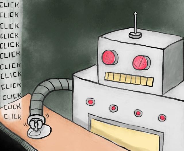 foto mostra simulação do bot clicando nos anuncios pago